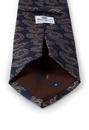 back of tie with brown inner lining and fumagalli logo