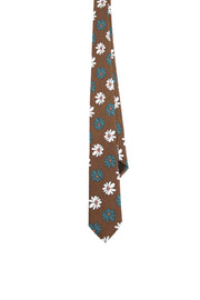 BROWN, WHITE & GREEN PRINTED MACRO FLORAL VINTAGE SILK hand made TIE - Fumagalli 1891