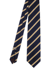 Blue & yellow little striped silk hand made tie - Fumagalli 1891