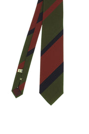 brown, green & blue regimental college silk hand made tie - Fumagalli 1891
