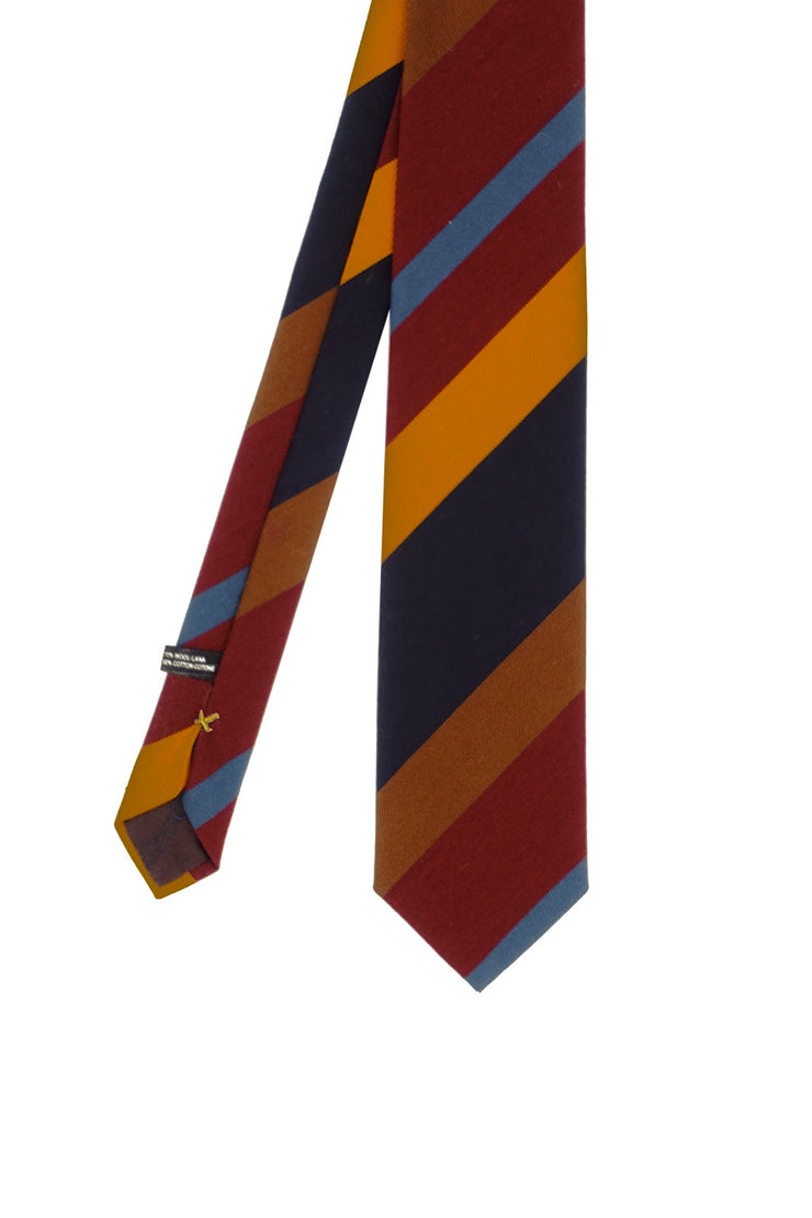 Different colors ayimmetrical striped regimental cotton & wool hand made tie - Fumagalli 1891
