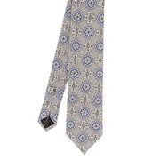 White, light blue & grey diamonds printed silk hand made tie- Fumagalli 1891