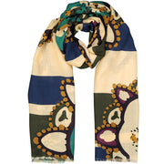 FRINGED WHITE, OLIVE GREEN & BLUE BIG DIAMONDS DESIGN WOOL HAND MADE SCARF - FUMAGALLI 1891