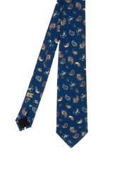 Blue paisley patterned printed silk hand made tie - Fumagalli 1891