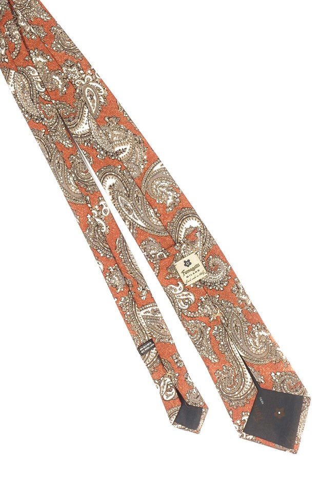 Orange,white & Grey paisley printed silk hand made tie- Fumagalli 1891