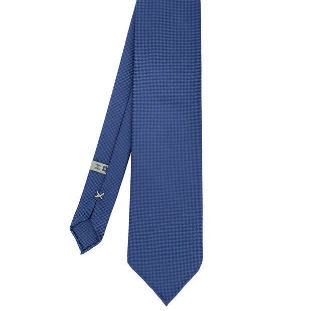 Blue plain panama pure silk unlined handmade tie- Fumagalli 1891