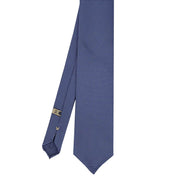 Denim blue plain panama pure silk unlined handmade tie - Fumagalli 1891