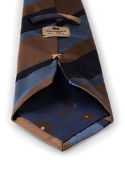 Light blue, blue & brown regimental silk hand made tie - Fumagalli 1891