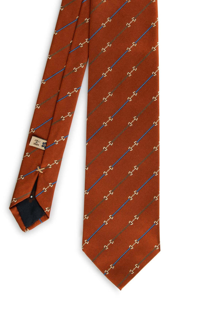 orange  hand made tie with little stripes  connected each other with a particular design