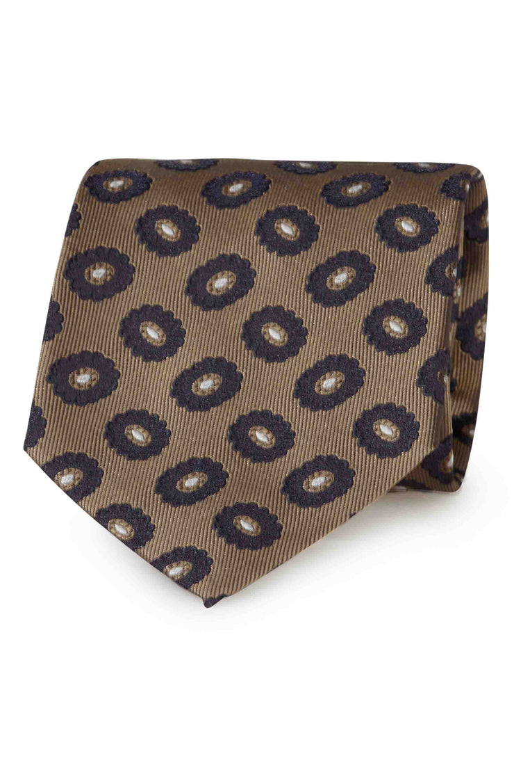 Light brown paisley jacquard silk hand made tie - Fumagalli 1891