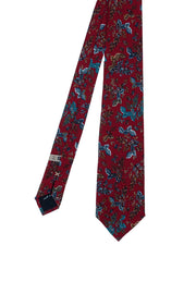 Burgundy leaves and flowers printed patterned silk hand made tie - Fumagalli 1891
