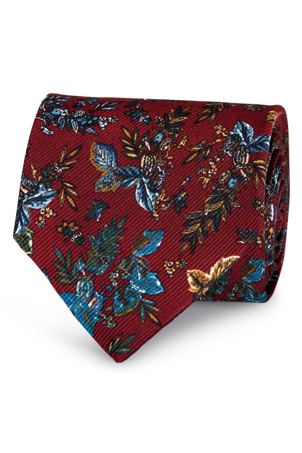 burgundy hand made silk tie with sleaves and blue flowers