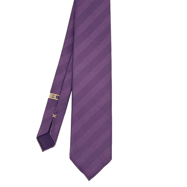 Violet plain reps pure silk unlined handmade tie- Fumagalli 1891