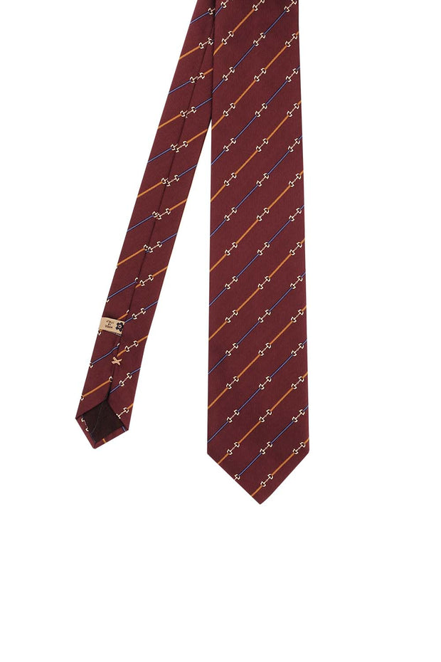 Burgundy striped pattern jacquard silk han made tie - Fumagalli 1891