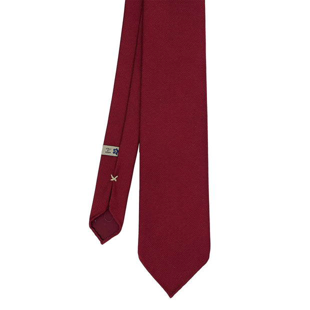 Red plain super reps pure silk unlined handmade tie- Fumagalli 1891
