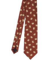 RED BRICK PAISLEY JACQUARD SILK HAND MADE TIE - FUMAGALLI 1891