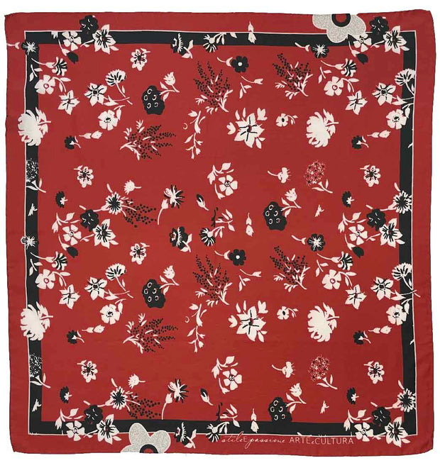 red printed floral hand made silk & cotton foularino- Fumagalli 1891