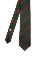Green little striped regimental silk hand made tie - Fumagalli 1891