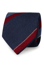 Regimental blue, light blue ,red & white hand made wool tie - Fumagalli 1891