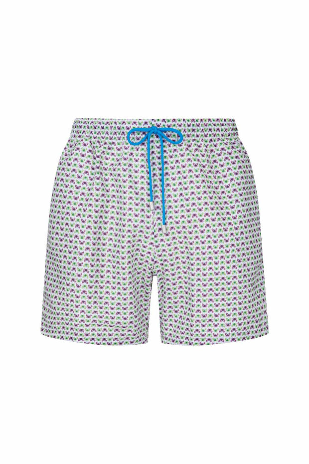 little green & purple crabs stand out on a white background on these luxury hand made swim shorts