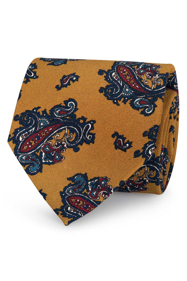 Yellow macro paisley silk & wool printed hand made silk tie - Fumagalli 1891
