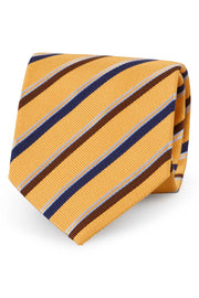 Yellow little striped regimental silk hand made tie - Fumagalli 1891