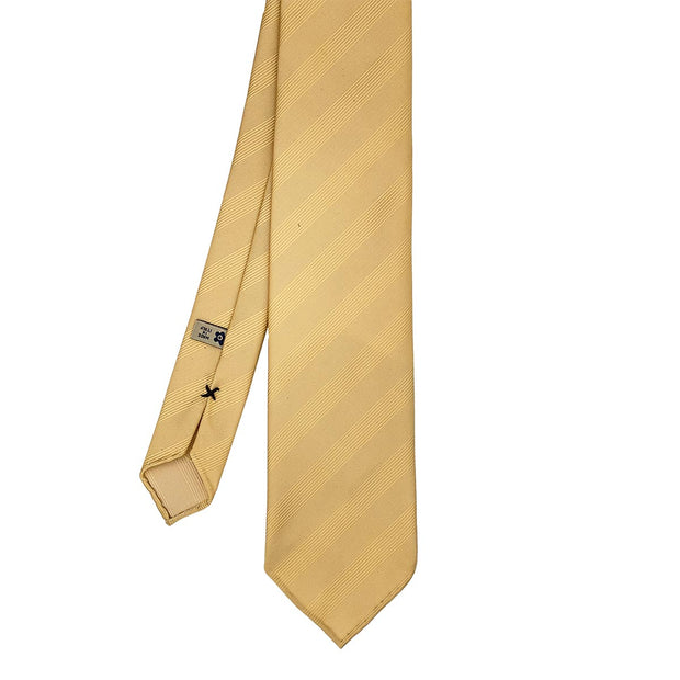 Yellow plain reps pure silk unlined handmade tie - Fumagalli 1891