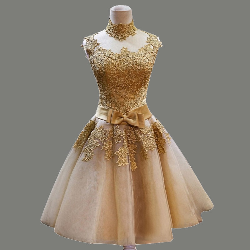 Golden Robe Short Lace Puffy Skirt Party Dress