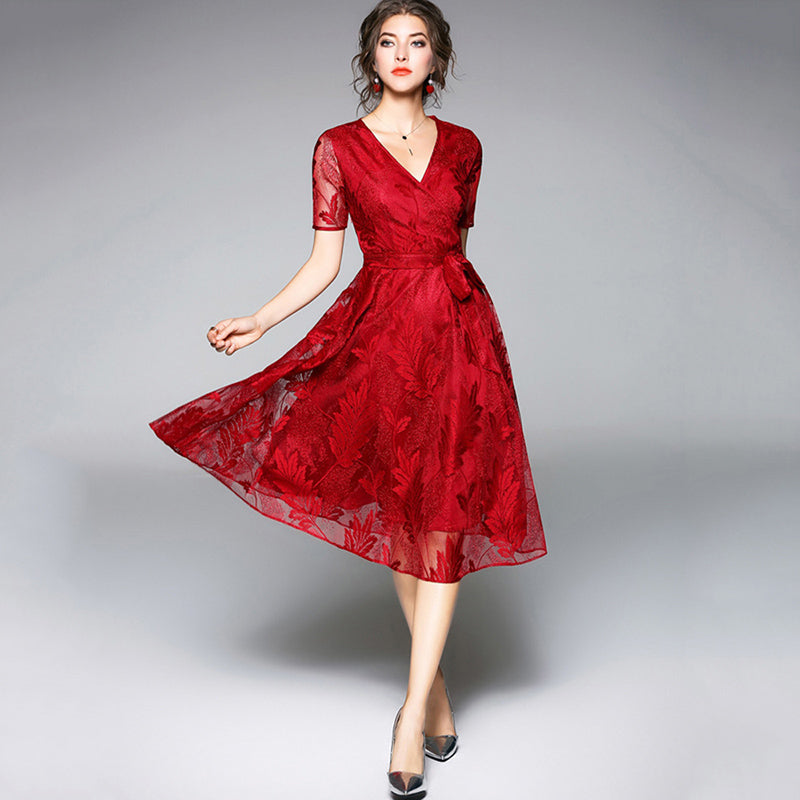 V-neck cocktail burgundy short sleeves lace dress