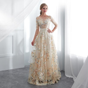 Champagne Belt Empire Waist Long Evening Gown