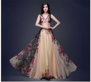 V Neck Long Chiffon Foral Print Wedding Party Gown