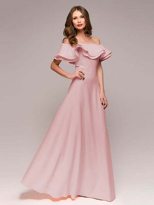 Off Shoulder Petal Sleeves Chiffon Party Gown