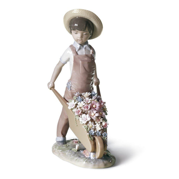 Lladro Porcelain Wheelbarrow With Flowers Figurine Figurines Lladro