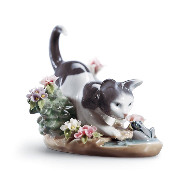 Lladro Porcelain Kitty Confrontation Figurine Figurines Lladro