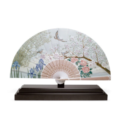 Lladro Porcelain Iris And Cherry Flowers Fan LE 2000 Sculptures Lladro