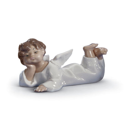 Lladro Porcelain Angel Laying Down Figurine Figurines Lladro