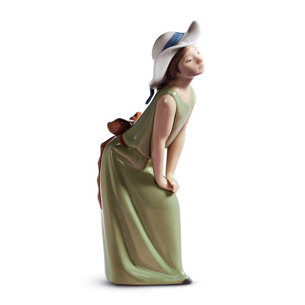 Lladro Porcelain Curious Girl With Straw Hat Figurine Figurines Lladro