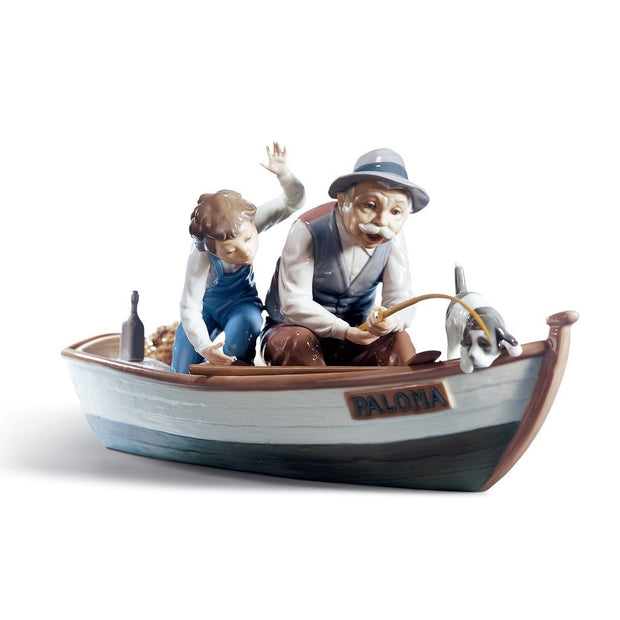 Lladro Porcelain Fishing With Gramps Figurine Figurines Lladro