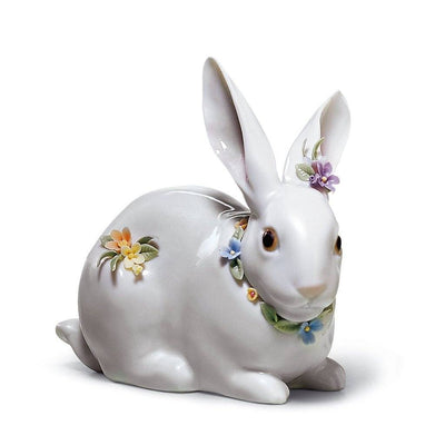 Lladro Porcelain Attentive Bunny With Flowers Figurine Figurines Lladro