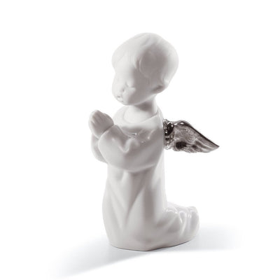 Lladro Porcelain Angel Praying Figurine Silver Luster Figurines Lladro