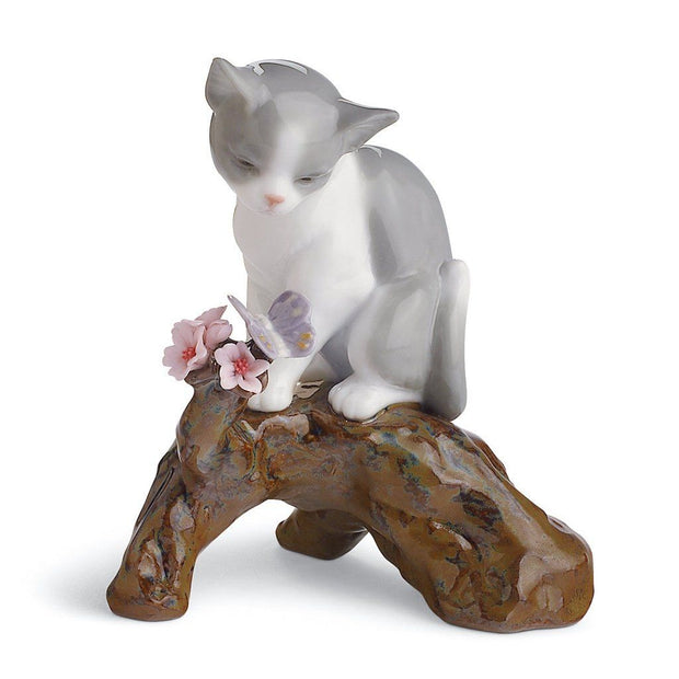 Lladro Porcelain Blossoms For The Kitten Figurine Figurines Lladro