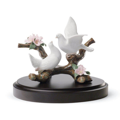Lladro Porcelain Doves On A Cherry Tree Figurine Figurines Lladro