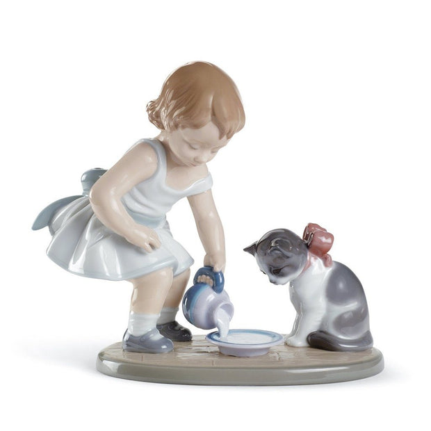 Lladro Porcelain Kitty's Breakfast Time Figurine Figurines Lladro