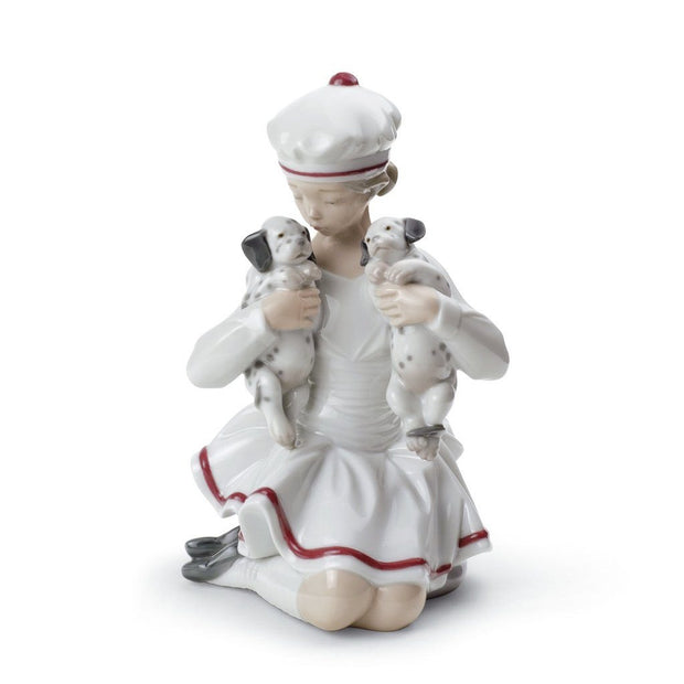 Lladro Porcelain Girl With Dalmatians Figurine Figurines Lladro