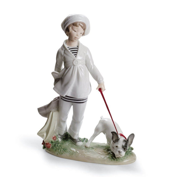 Lladro Porcelain Girl With French Bulldog Figurine Figurines Lladro