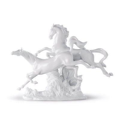 Lladro Porcelain Horses Galloping Figurine White Figurines Lladro