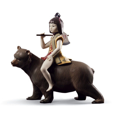 Lladro Porcelain Kintaro And The Bear Figurine LE 3500 Figurines Lladro