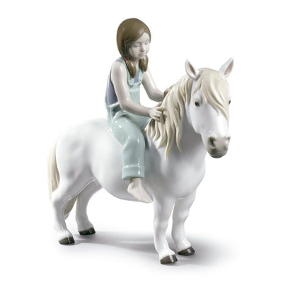 Lladro Porcelain Girl With Pony Figurine Figurines Lladro