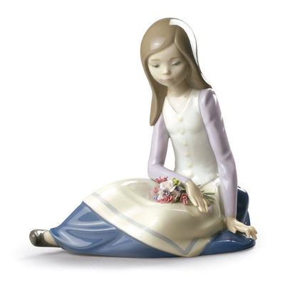 Lladro Porcelain Contemplative Young Girl Figurine Figurines Lladro