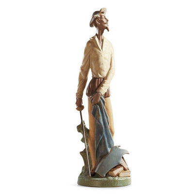 Lladro Porcelain Quixote Standing Up Figurine Gres Finish Figurines Lladro